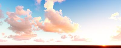Bright sky and clouds. Bright blue sky and puffy pink clouds sunset Stock Images