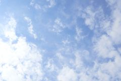 Bright sky Clouds float slightly. Feel refreshed and relaxed, can be seen as a background image and space to enter the message. Bright sky Clouds float slightly royalty free stock photography