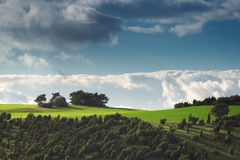 Bright sky at the Kalvarienberg in the German city Alendorf in the region Eifel Stock Photography