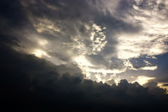 The Bright Sky over the Black Thunder Clouds. Royalty Free Stock Image