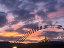 The bright sky over the bridge. Cheltenham Waitrose 2017 Royalty Free Stock Photos