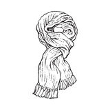 Bright slip knotted winter knitted scarf with tassels. Sketch style vector illustrations isolated on white background. Hand drawn fluffy woolen scarf tied in Stock Image