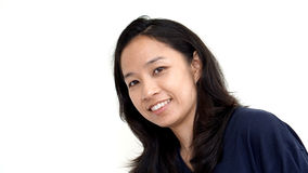 Bright smile Asian casual woman on white background Stock Image