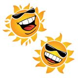 Bright Smiling Happy Sun Cartoon Vector Illustrations. Two very cool happy sun cartoons. wearing sunglasses, big smiling mouth, large bright white teeth, full vector illustration