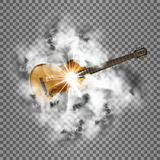 Bright, smoke and guitar transparent shine. Realistic acoustic guitar in a smoky cloud flash. Isolated objects can be used with any image or text Royalty Free Stock Images