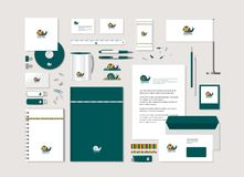 Bright snail. The bright corporate style with snail. Samples of business cards, a disk, a flag, a pen, a flash card, a form, an envelope, a mug, a notepad, a Royalty Free Illustration
