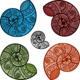 Bright snail shells with ethnic patterns Royalty Free Stock Photo