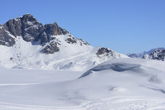 Snow dune and Pale range, San Pellegrino pass Royalty Free Stock Photography