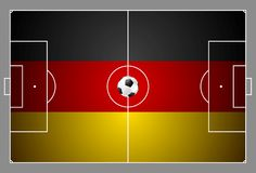 Bright soccer background with ball. German colors Royalty Free Stock Photos
