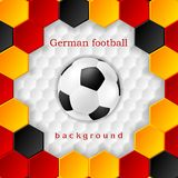Bright soccer background with ball. German colors Royalty Free Stock Photography