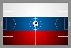 Bright soccer background with ball. Russian colors Royalty Free Stock Photography