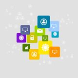 Bright social communication icons background Stock Photography