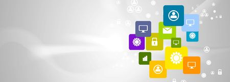 Bright social communication icons on grey waves Royalty Free Stock Images