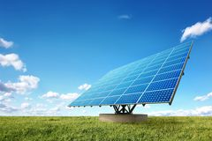 Bright solar panels in the nature Stock Photos