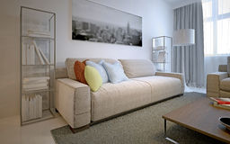 Bright solution for modern living room Royalty Free Stock Photos
