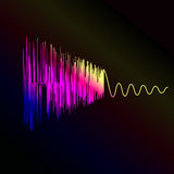 Bright sound wave on a dark blue background. EPS Stock Photos
