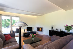 Bright space - cosy living room. Bright space - a comfortable and cosy living room royalty free stock photos