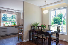 Bright space - dining room and kitchen Royalty Free Stock Image