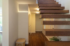 Bright space - modern wooden steps Stock Photo