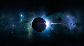 Bright Space Planet Eclipse. Imaginary deep space eclispe with nebula stars and asteroids Royalty Free Stock Image