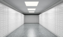 A bright space with safe deposit boxes. A concept of storing of important documents or valuables in a safe and secure environment. Royalty Free Stock Image