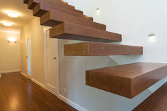 Bright space - wooden steps Royalty Free Stock Image