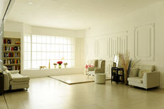 Bright and spacious den interior decoration literary type real picture Stock Image