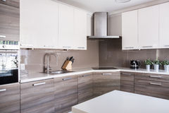 Bright spacious kitchen. Image of a bright spacious kitchen in modern style Royalty Free Stock Photos