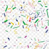 Bright sparkle of colorful confetti. Abstract background with falling blue, red, gold, green, pink tiny confetti. Luxury festive background for your design Royalty Free Stock Photos