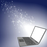 Bright sparkle shine laptop computer screen Royalty Free Stock Images