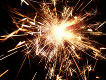 Bright sparklers on black background Royalty Free Stock Photo