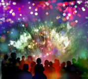 Bright sparkling fireworks, confetti and illustrated spectator s. Stars and lights pattern of bright sparkling fireworks with stars and circle shapes and Royalty Free Stock Photography