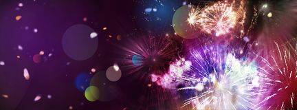 Bright sparkling multicolor fireworks panorama. Stars and lights pattern of bright sparkling colorful fireworks with motion textures and circle shapes added vector illustration