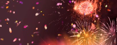 Bright sparkling multicolor fireworks panorama. Stars and lights pattern of bright sparkling colorful fireworks with motion textures and circle shapes added royalty free illustration