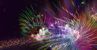 Bright sparkling multicolor fireworks. Stars and lights pattern of bright sparkling colorful fireworks with colorful stars and circle shapes added stock illustration