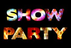 `Show Party` text on black background. Vector template Stock Photos