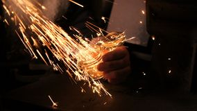 Bright sparks close up. Bright sparks is in a smythy close up stock video