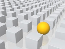 Bright sphere in row of grey boxes Royalty Free Stock Photography