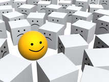 Bright sphere with smile in row of grey boxes Royalty Free Stock Photography