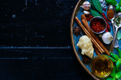 Bright spices and herbs stock photography