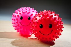 Bright, spiked rubber balls for pets stock photo