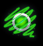 Bright spiral around the button green colour. Stock Images