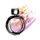 Bright splach perfume bottle sketch. Stock Photo
