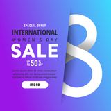 Bright spring banner. International women`s day Stock Images