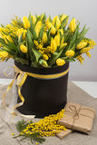 Bright spring bouquet of tulips and mimosa flowers Stock Photos