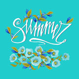Bright spring card on blue background with spring flowers and hand lettering word. Spring floral background. Spring word and flowe Royalty Free Stock Photo