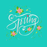 Bright spring card on blue background with spring flowers and hand lettering word. Summer decoration. Summer floral decor. Spring Stock Photo