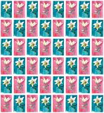 Bright spring floral seamless pattern of white lilies on blue and pink backgrounds watercolor. Hand illustration vector illustration