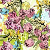 Bright spring flowers, seamless pattern. Hand drawn Royalty Free Stock Images