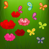 Bright spring pattern with flowers and butterflies Royalty Free Stock Images